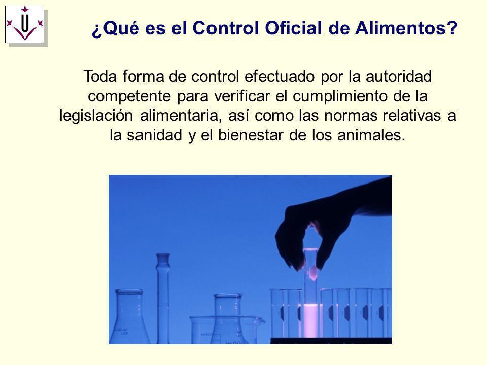 ¿Qué es el Control Oficial de Alimentos? Toda forma de control efectuado por la autoridad competente para verificar el cumplimiento de la legislación