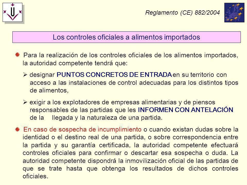 Reglamento (CE) 882/2004 Para la realización de los controles oficiales de los alimentos importados, la autoridad competente tendrá que: designar PUNT