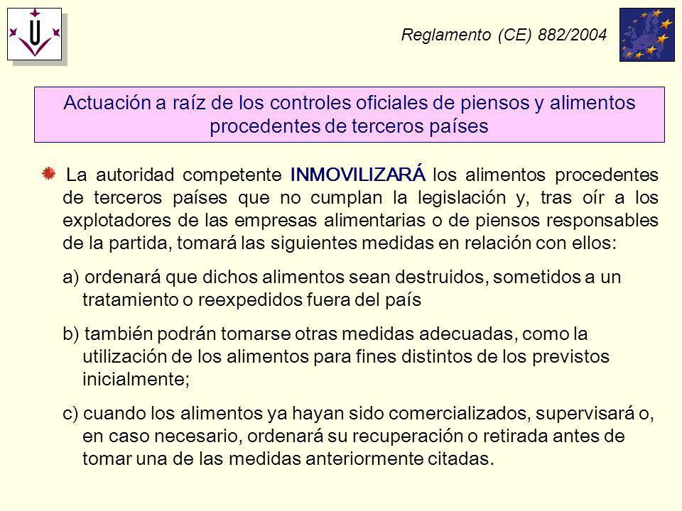 Reglamento (CE) 882/2004 Actuación a raíz de los controles oficiales de piensos y alimentos procedentes de terceros países La autoridad competente INM