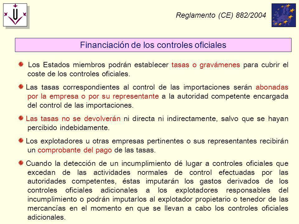 Reglamento (CE) 882/2004 Financiación de los controles oficiales Los Estados miembros podrán establecer tasas o gravámenes para cubrir el coste de los