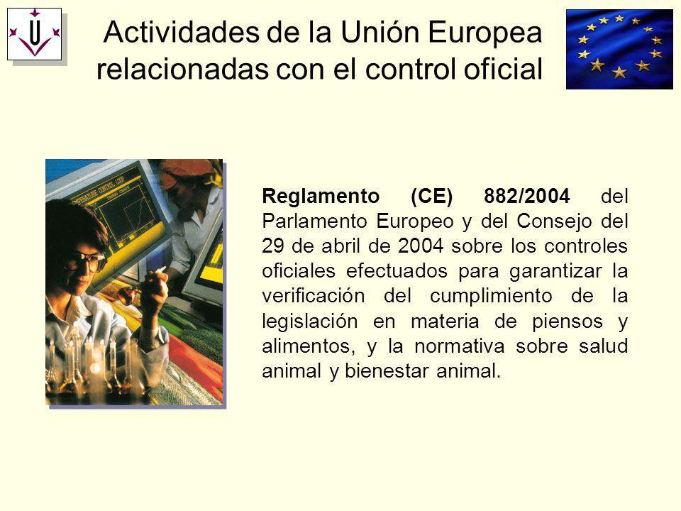 Actividades de la Unión Europea relacionadas con el control oficial Reglamento (CE) 882/2004 del Parlamento Europeo y del Consejo del 29 de abril de 2