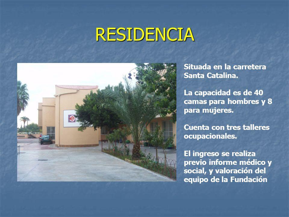 RESIDENCIA Situada en la carretera Santa Catalina. La capacidad es de 40 camas para hombres y 8 para mujeres. Cuenta con tres talleres ocupacionales.