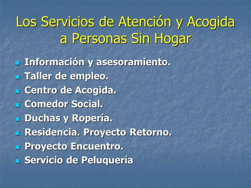 Los Servicios de Atención y Acogida a Personas Sin Hogar Información y asesoramiento. Información y asesoramiento. Taller de empleo. Taller de empleo.