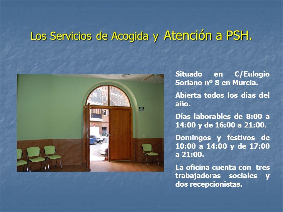 Los Servicios de Acogida y Atención a PSH. Situado en C/Eulogio Soriano nº 8 en Murcia. Abierta todos los días del año. Días laborables de 8:00 a 14:0