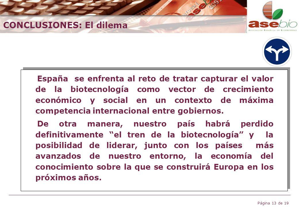 Página 13 de 19 España se enfrenta al reto de tratar capturar el valor de la biotecnología como vector de crecimiento económico y social en un context