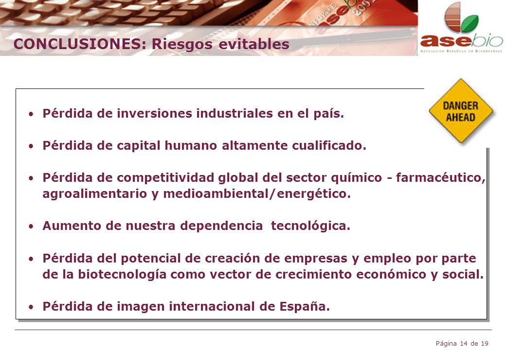 Página 14 de 19 CONCLUSIONES: Riesgos evitables Pérdida de inversiones industriales en el país. Pérdida de capital humano altamente cualificado. Pérdi