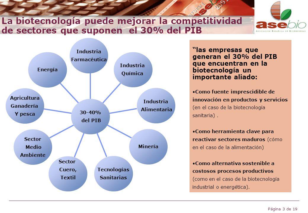 Página 3 de 19 La biotecnología puede mejorar la competitividad de sectores que suponen el 30% del PIB Industria Farmacéutica Industria Química Indust