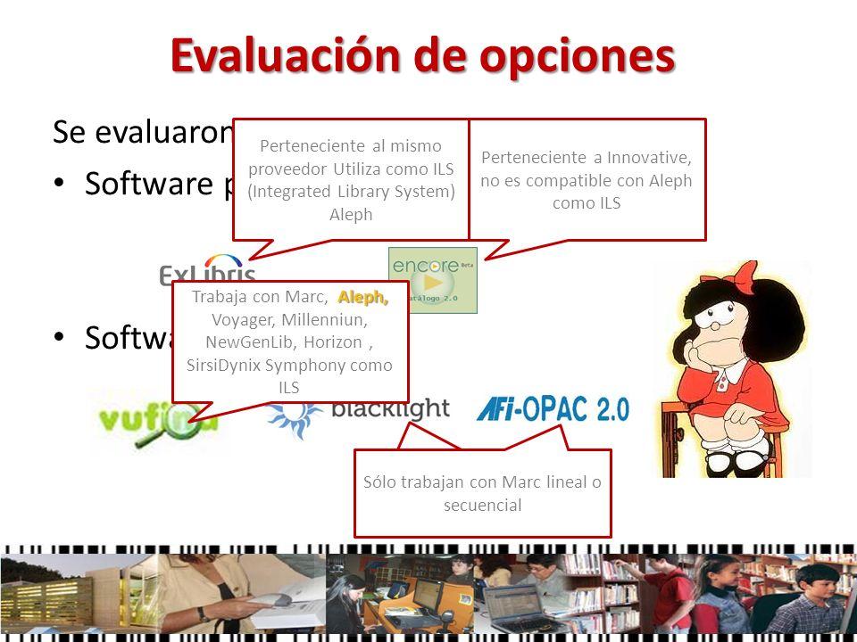 Evaluación de opciones Se evaluaron las alternativas existentes: Software propietario: Software libre: Perteneciente al mismo proveedor Utiliza como I