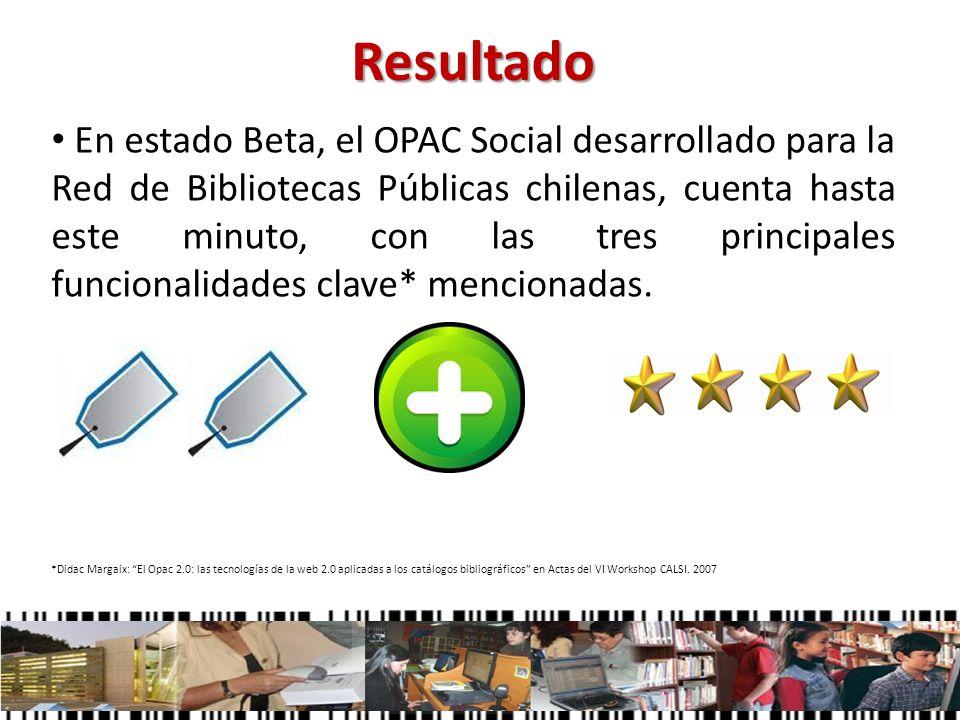 Resultado En estado Beta, el OPAC Social desarrollado para la Red de Bibliotecas Públicas chilenas, cuenta hasta este minuto, con las tres principales
