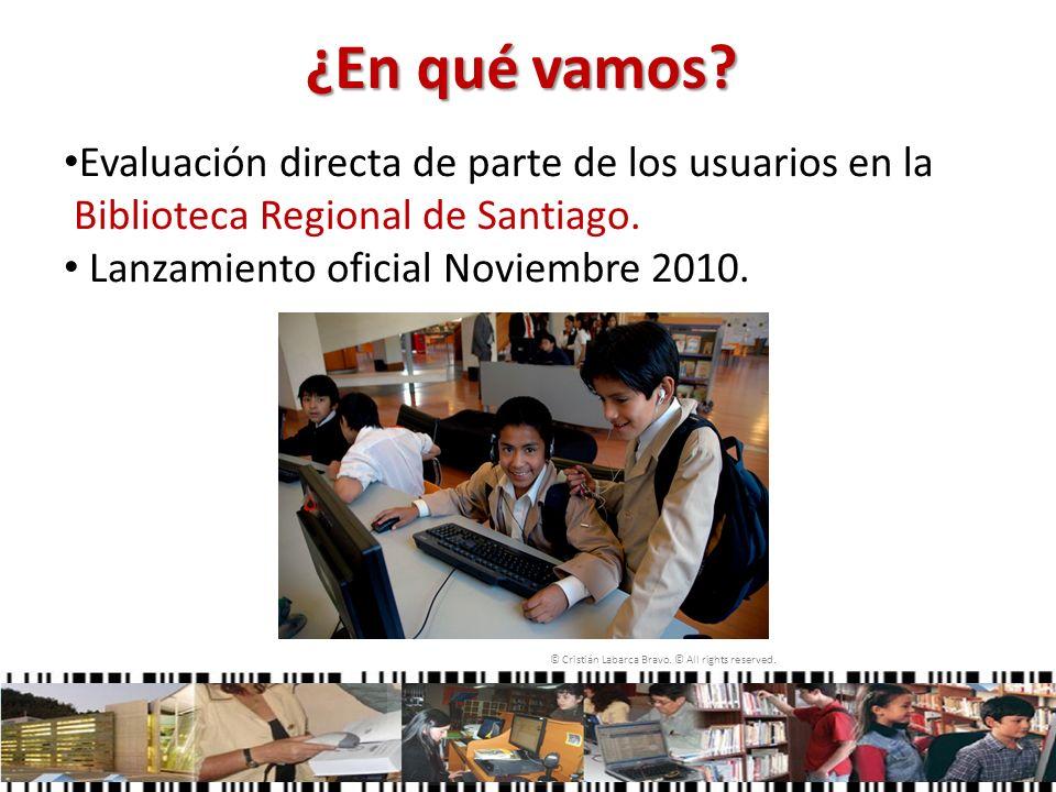¿En qué vamos? Evaluación directa de parte de los usuarios en la Biblioteca Regional de Santiago. Lanzamiento oficial Noviembre 2010. © Cristián Labar