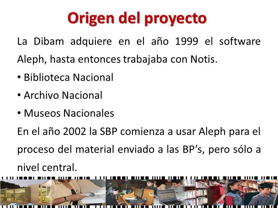 Origen del proyecto La Dibam adquiere en el año 1999 el software Aleph, hasta entonces trabajaba con Notis. Biblioteca Nacional Archivo Nacional Museo