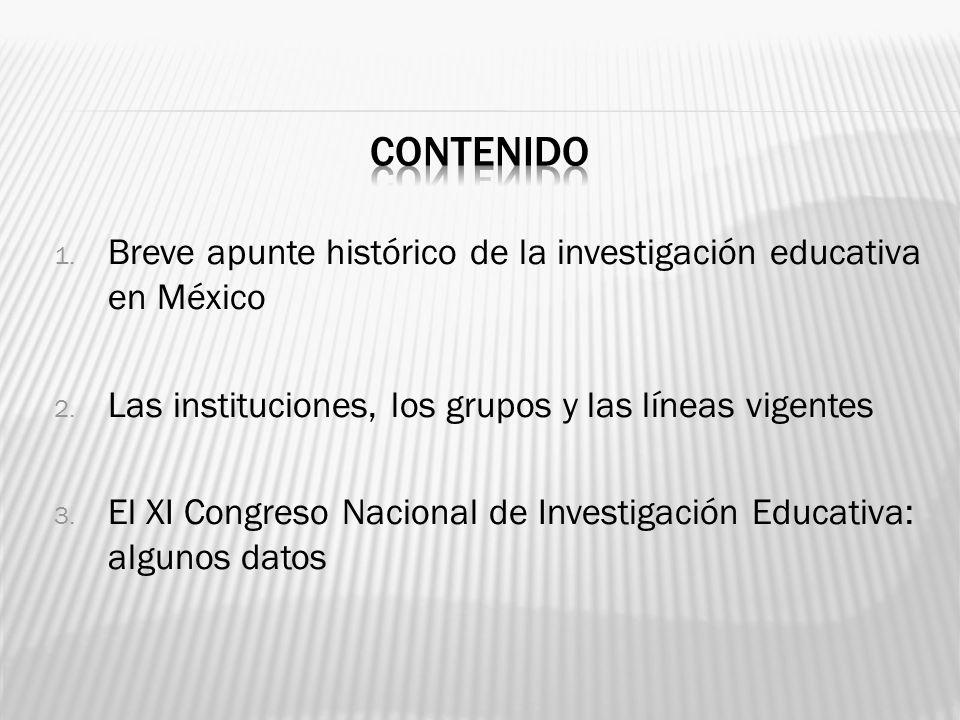 1. Breve apunte histórico de la investigación educativa en México 2. Las instituciones, los grupos y las líneas vigentes 3. El XI Congreso Nacional de