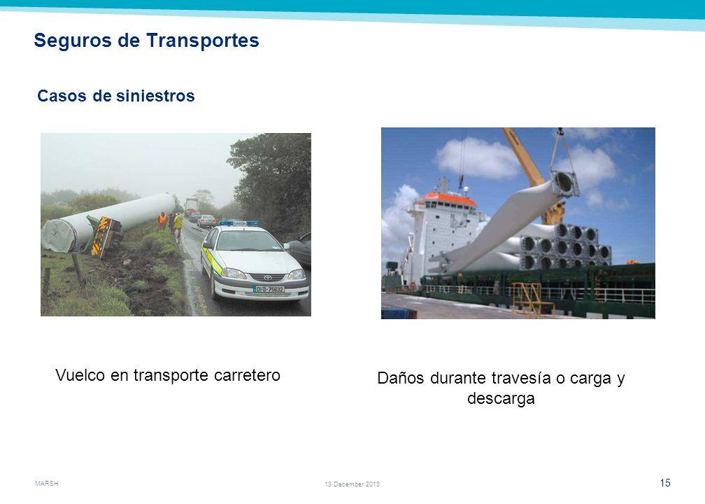MARSH 13 13 December 2013 Seguros de Transportes Los riesgos emergentes de la cadena logística en este tipo de proyectos son importantes debido a la e