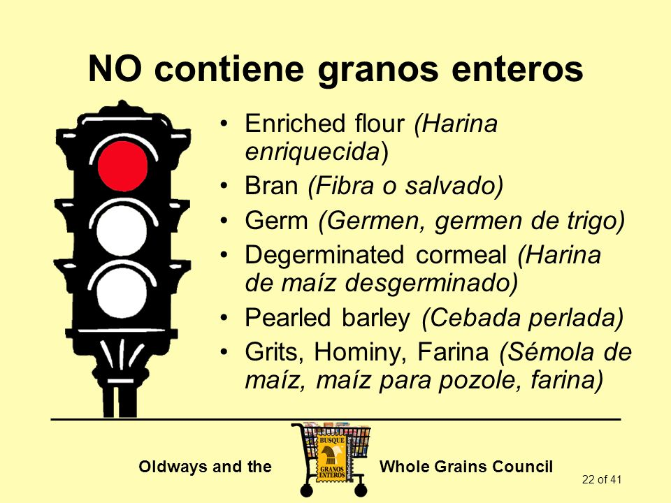 Oldways and the Whole Grains Council 22 of 41 NO contiene granos enteros Enriched flour (Harina enriquecida) Bran (Fibra o salvado) Germ (Germen, germ