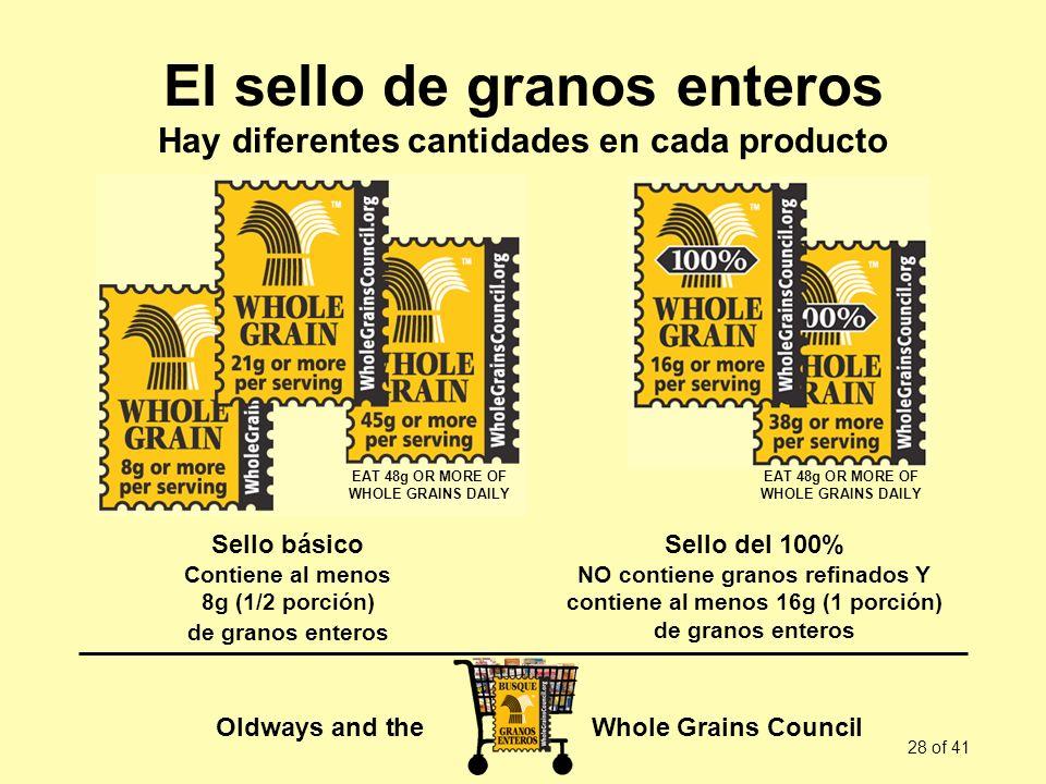 Oldways and the Whole Grains Council 28 of 41 El sello de granos enteros Hay diferentes cantidades en cada producto Sello básico Contiene al menos 8g