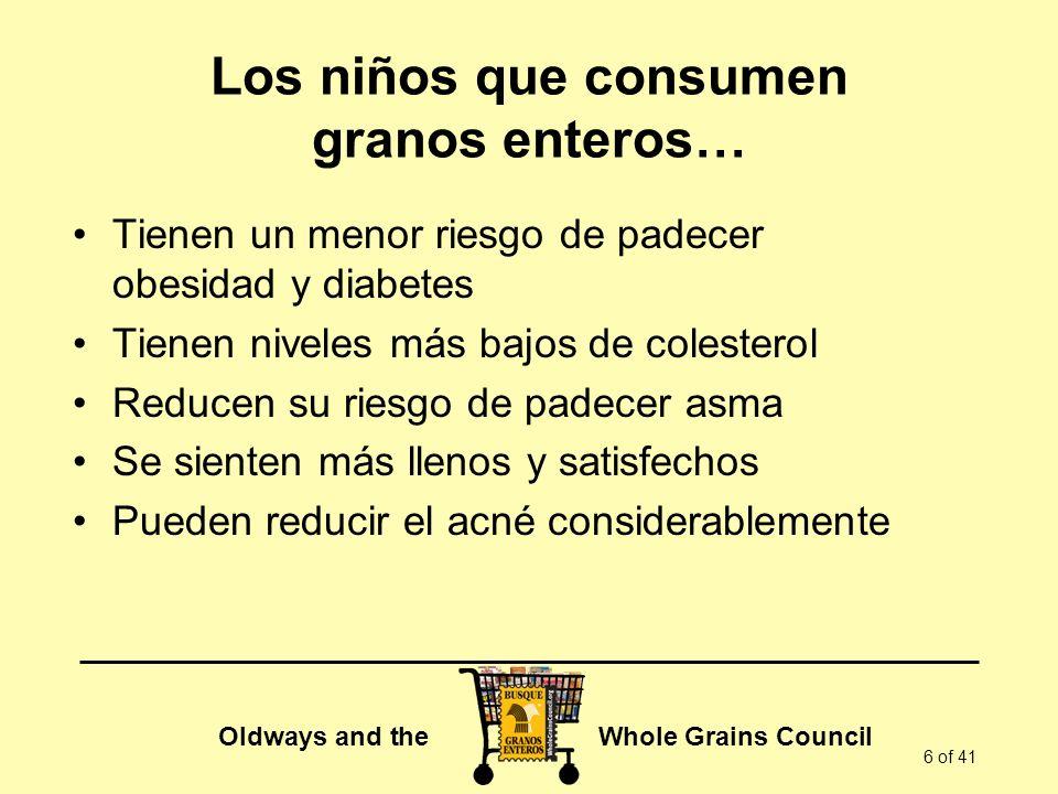 Oldways and the Whole Grains Council 7 of 41 Con una buena dieta, los niños se benefician rápidamente En 2 semanas… Niños con sobrepeso de entre 9 y 15 años Una dieta en la que se consume todo lo que se pueda comer Granos enteros, frutas, verduras y proteína magra Ejercicio diario El nivel de colesterol bajó en un 21% Los niveles de insulina bajaron un 30% El nivel de leptina (hormona del apetito) bajó un 57% Source: Atherosclerosis.