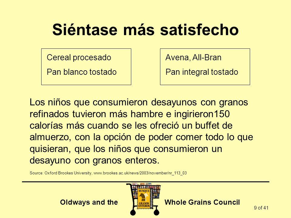 Oldways and the Whole Grains Council 9 of 41 Siéntase más satisfecho Los niños que consumieron desayunos con granos refinados tuvieron más hambre e in