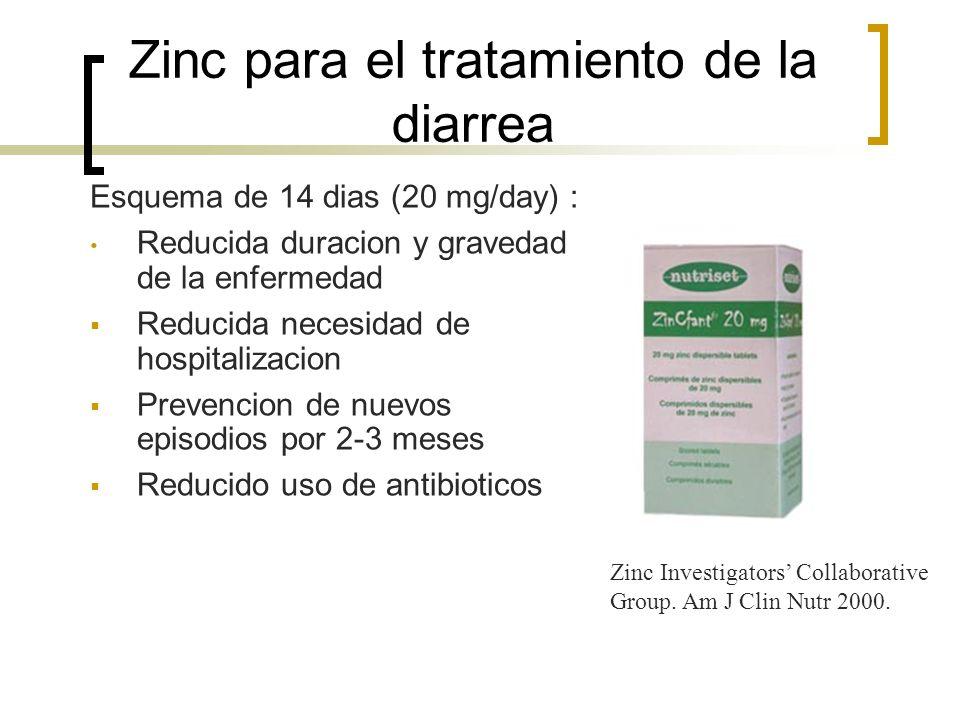 Zinc para el tratamiento de la diarrea Esquema de 14 dias (20 mg/day) : Reducida duracion y gravedad de la enfermedad Reducida necesidad de hospitaliz