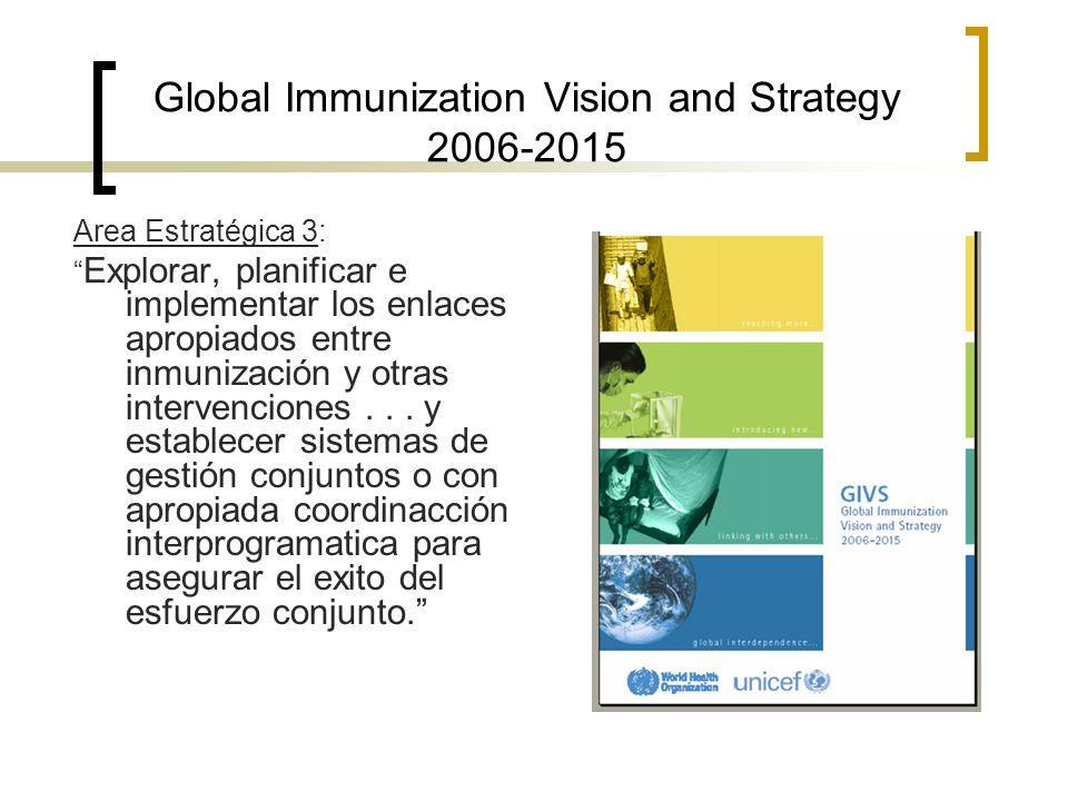 Global Immunization Vision and Strategy 2006-2015 Area Estratégica 3: Explorar, planificar e implementar los enlaces apropiados entre inmunización y o