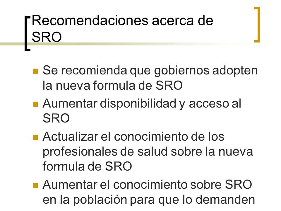 Recomendaciones acerca de SRO Se recomienda que gobiernos adopten la nueva formula de SRO Aumentar disponibilidad y acceso al SRO Actualizar el conoci