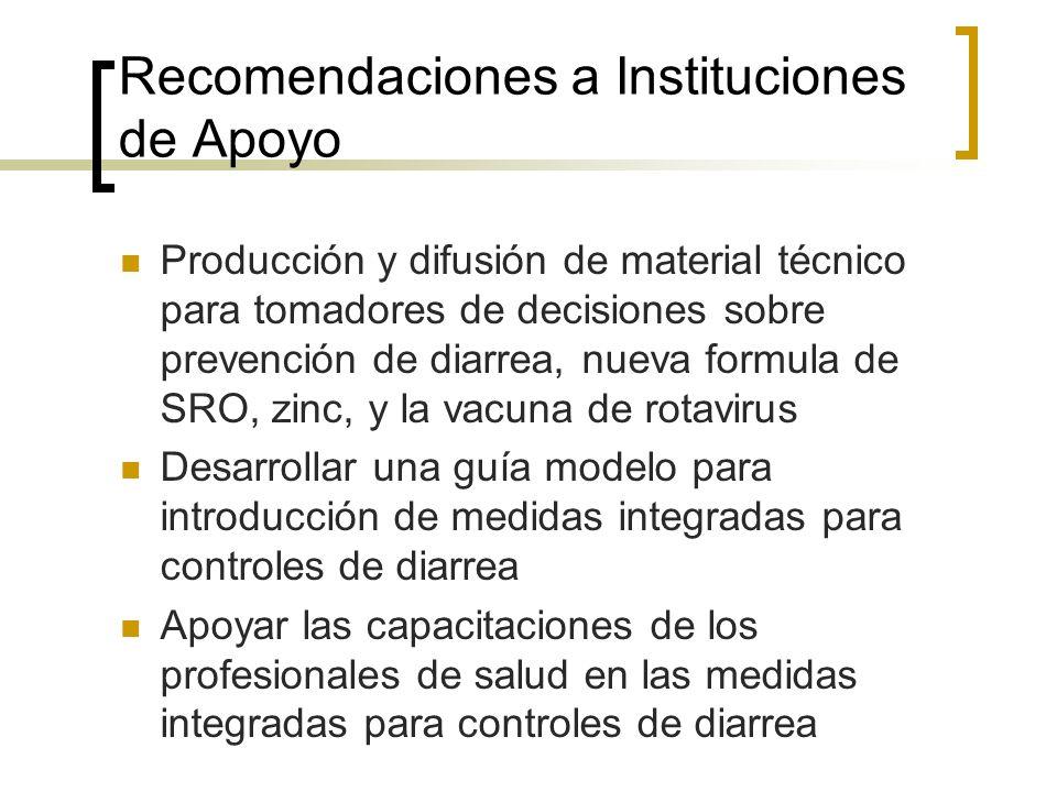 Recomendaciones a Instituciones de Apoyo Producción y difusión de material técnico para tomadores de decisiones sobre prevención de diarrea, nueva for