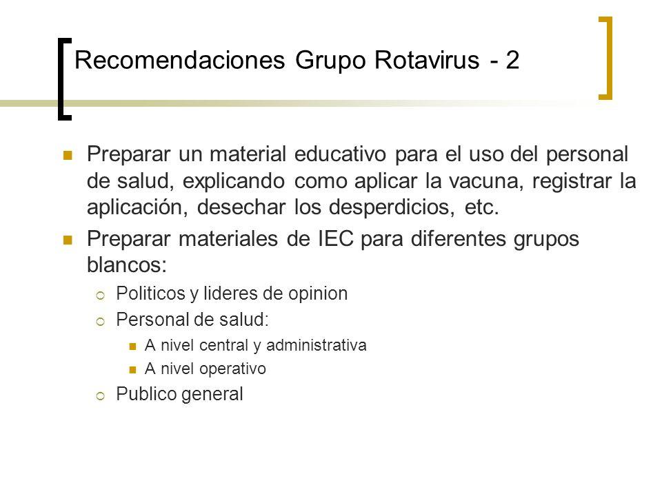 Recomendaciones Grupo Rotavirus - 2 Preparar un material educativo para el uso del personal de salud, explicando como aplicar la vacuna, registrar la