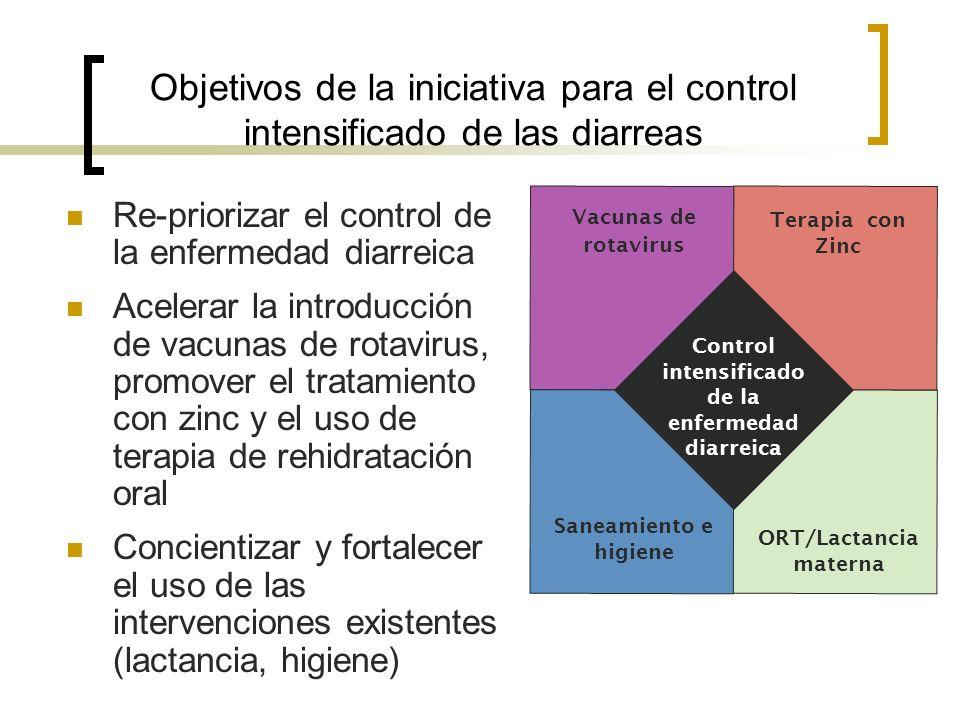 Objetivos de la iniciativa para el control intensificado de las diarreas Re-priorizar el control de la enfermedad diarreica Acelerar la introducción d
