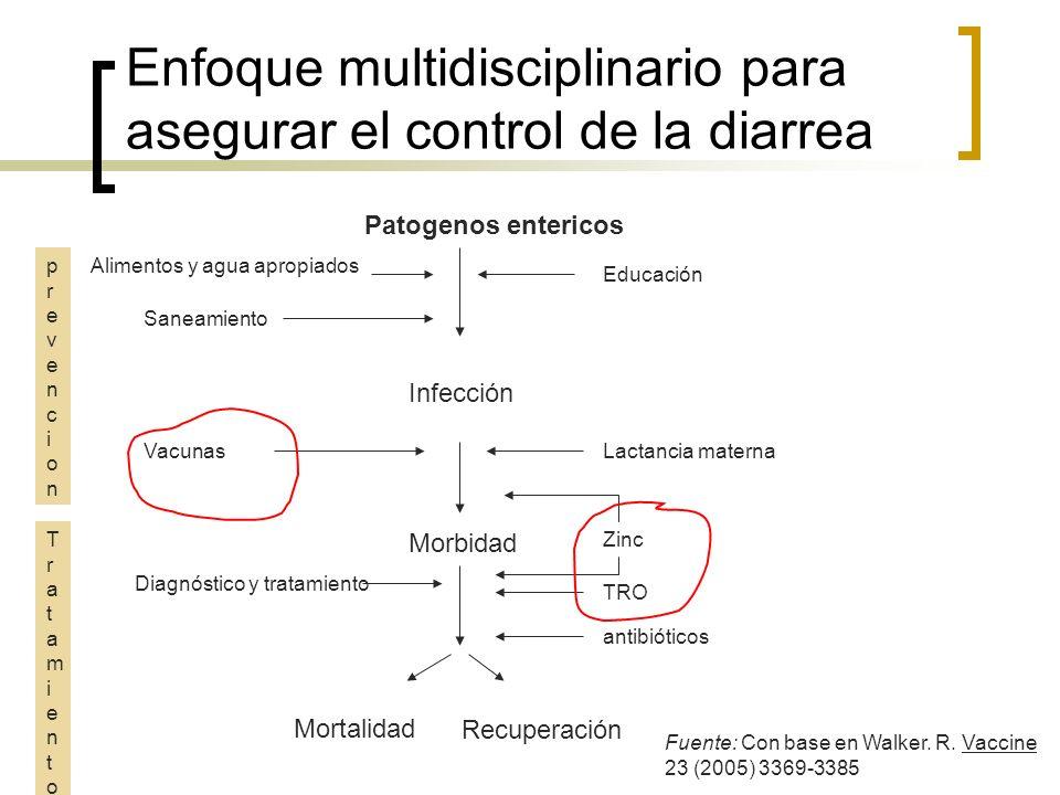 Vacunas de rotavirus Terapia con Zinc TRO/Lactancia materna Saneamiento e higiene Control intensificado de la enfermedad diarreica