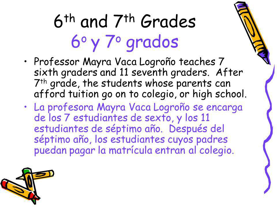 6 th and 7 th Grades 6 o y 7 o grados Professor Mayra Vaca Logroño teaches 7 sixth graders and 11 seventh graders. After 7 th grade, the students whos
