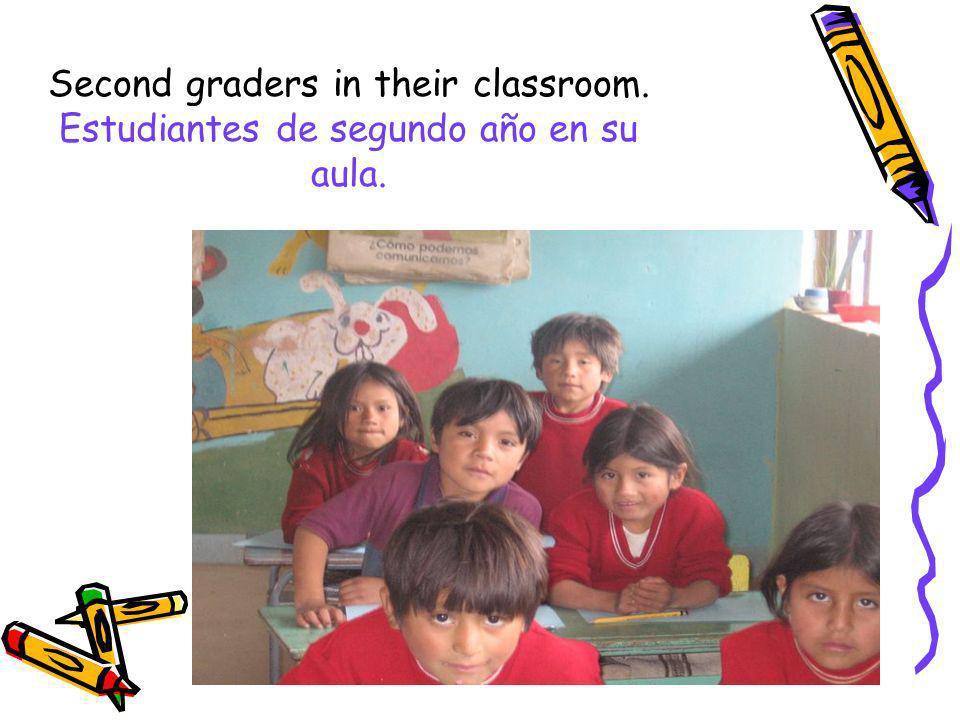 Second graders in their classroom. Estudiantes de segundo año en su aula.