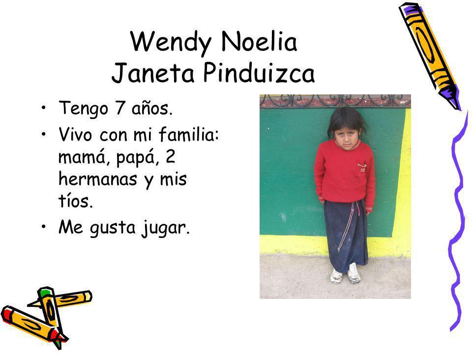 Wendy Noelia Janeta Pinduizca Tengo 7 años. Vivo con mi familia: mamá, papá, 2 hermanas y mis tíos. Me gusta jugar.