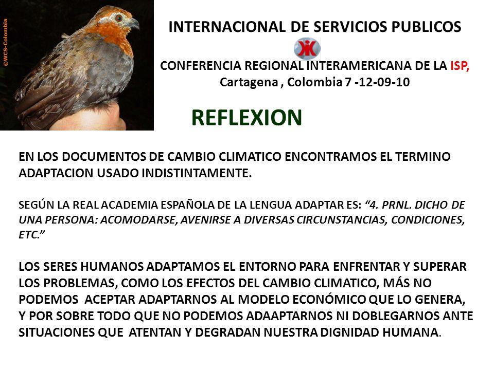 INTERNACIONAL DE SERVICIOS PUBLICOS CONFERENCIA REGIONAL INTERAMERICANA DE LA ISP, Cartagena, Colombia 7 -12-09-10. REFLEXION EN LOS DOCUMENTOS DE CAM