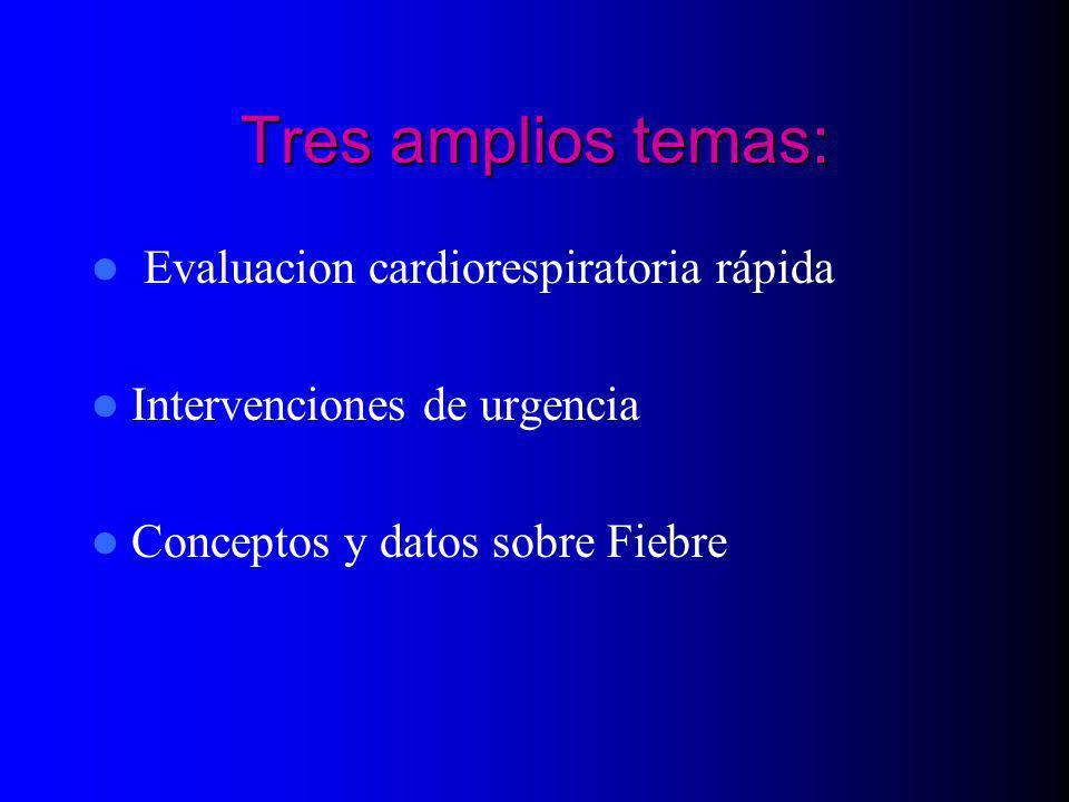 Tres amplios temas: Evaluacion cardiorespiratoria rápida Intervenciones de urgencia Conceptos y datos sobre Fiebre