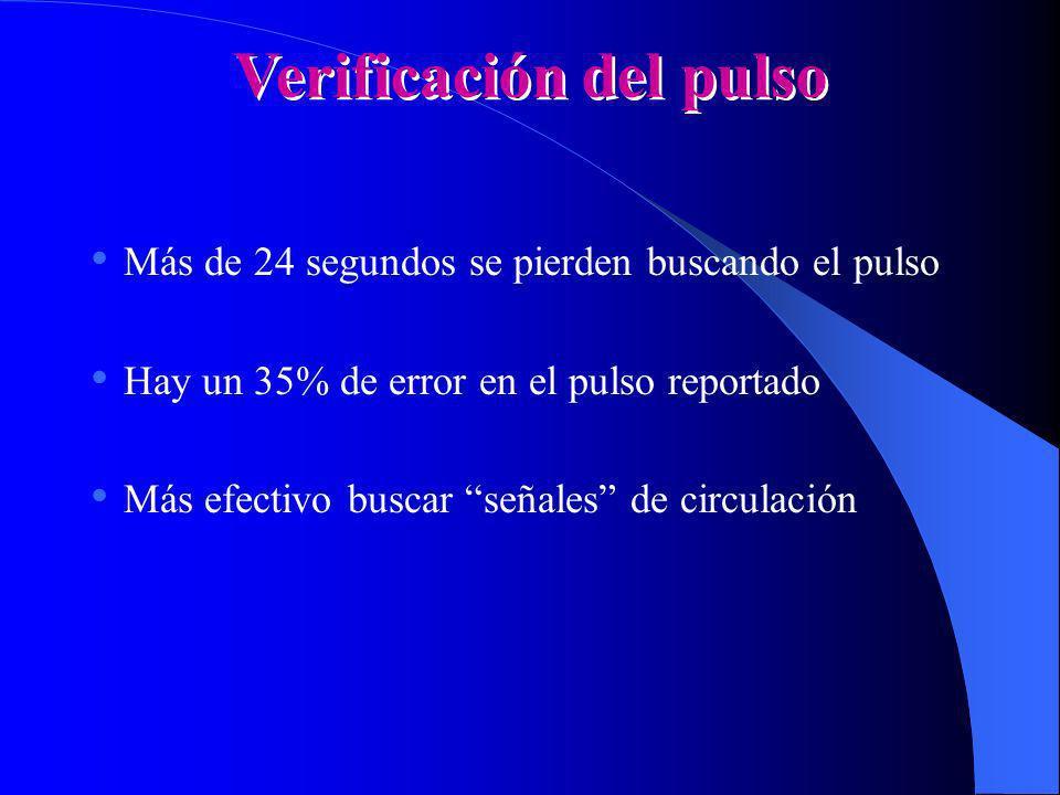 Verificación del pulso Más de 24 segundos se pierden buscando el pulso Hay un 35% de error en el pulso reportado Más efectivo buscar señales de circul