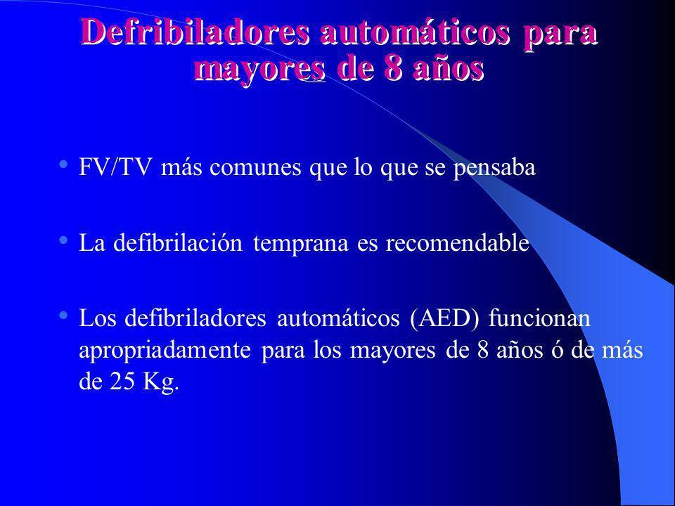 Defribiladores automáticos para mayores de 8 años FV/TV más comunes que lo que se pensaba La defibrilación temprana es recomendable Los defibriladores