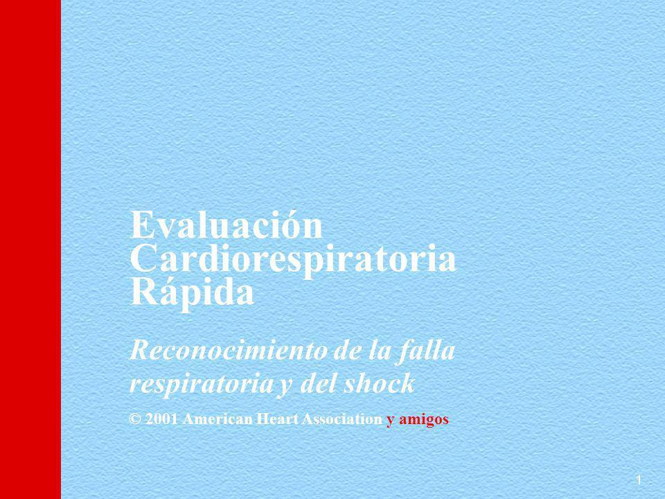 1 Evaluación Cardiorespiratoria Rápida Reconocimiento de la falla respiratoria y del shock © 2001 American Heart Association y amigos