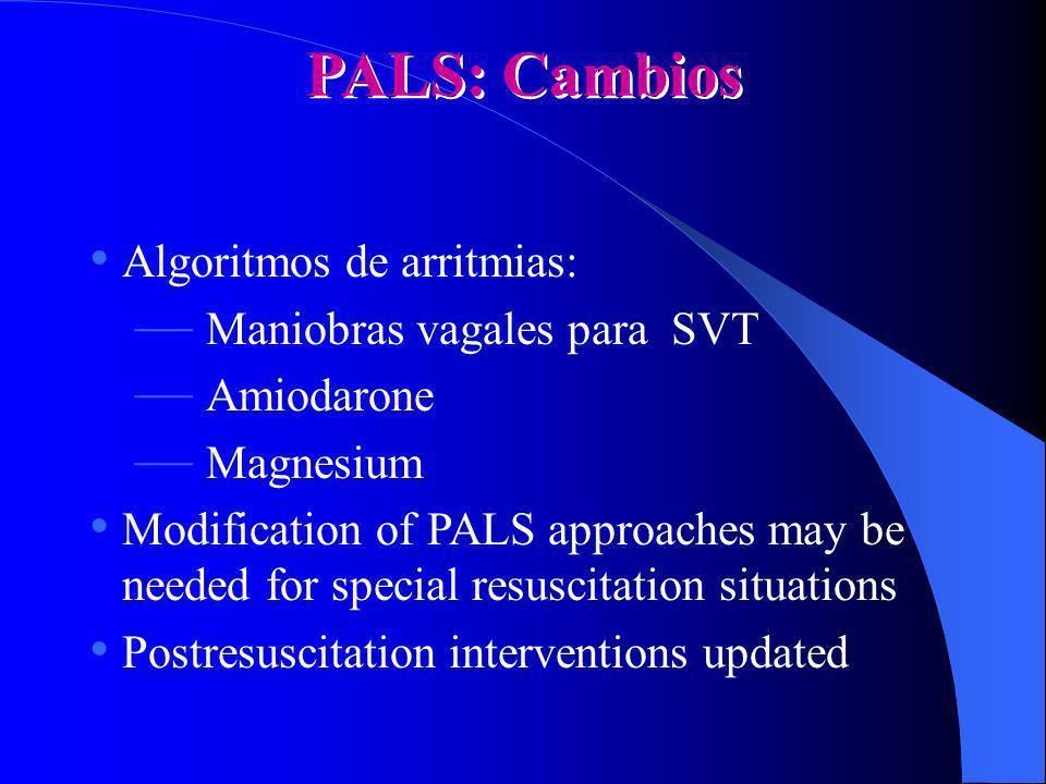 PALS: Cambios Algoritmos de arritmias: Maniobras vagales para SVT Amiodarone Magnesium Modification of PALS approaches may be needed for special resus
