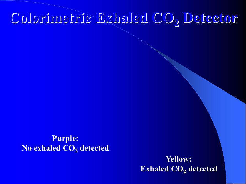 Confirmación secundaria de intubación: CO2 Requiere ritmo de perfusión Intubación bronquial Se recomiendan 6 ventilaciones antes de medir