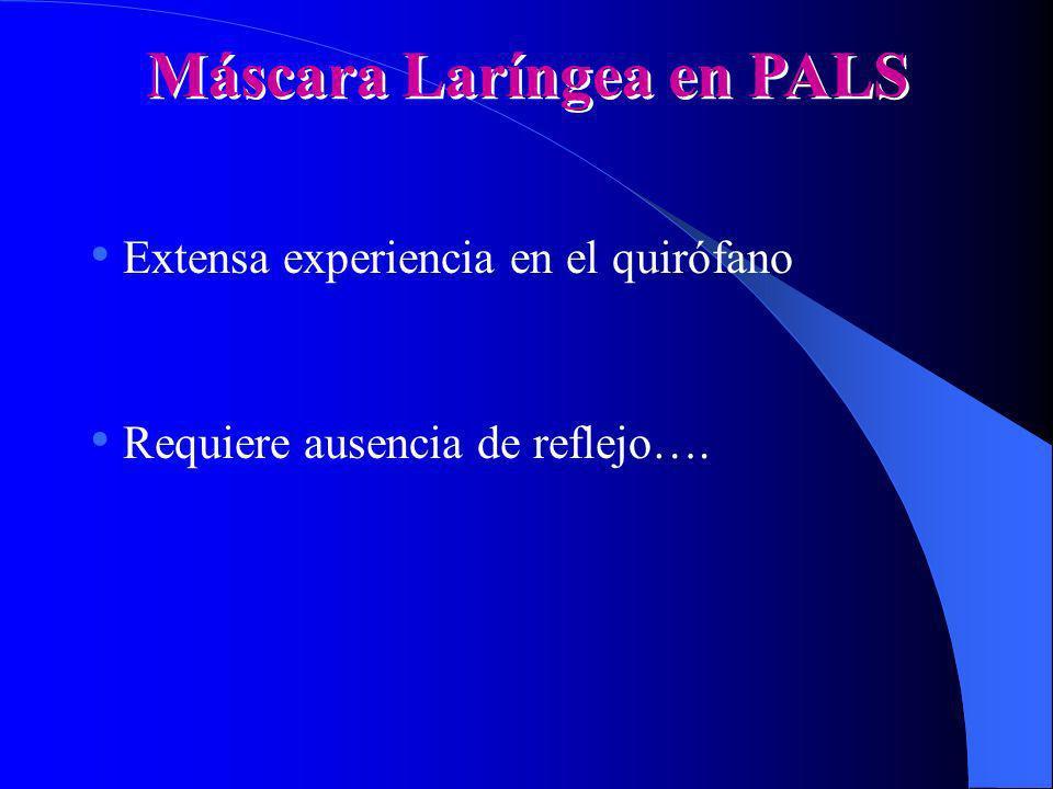 Máscara Laríngea en PALS Extensa experiencia en el quirófano Requiere ausencia de reflejo….