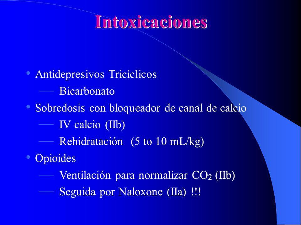 Intoxicaciones Antidepresivos Tricíclicos Bicarbonato Sobredosis con bloqueador de canal de calcio IV calcio (IIb) Rehidratación (5 to 10 mL/kg) Opioi