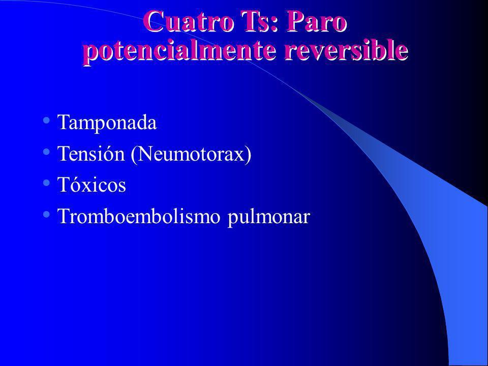 Cuatro Ts: Paro potencialmente reversible Tamponada Tensión (Neumotorax) Tóxicos Tromboembolismo pulmonar