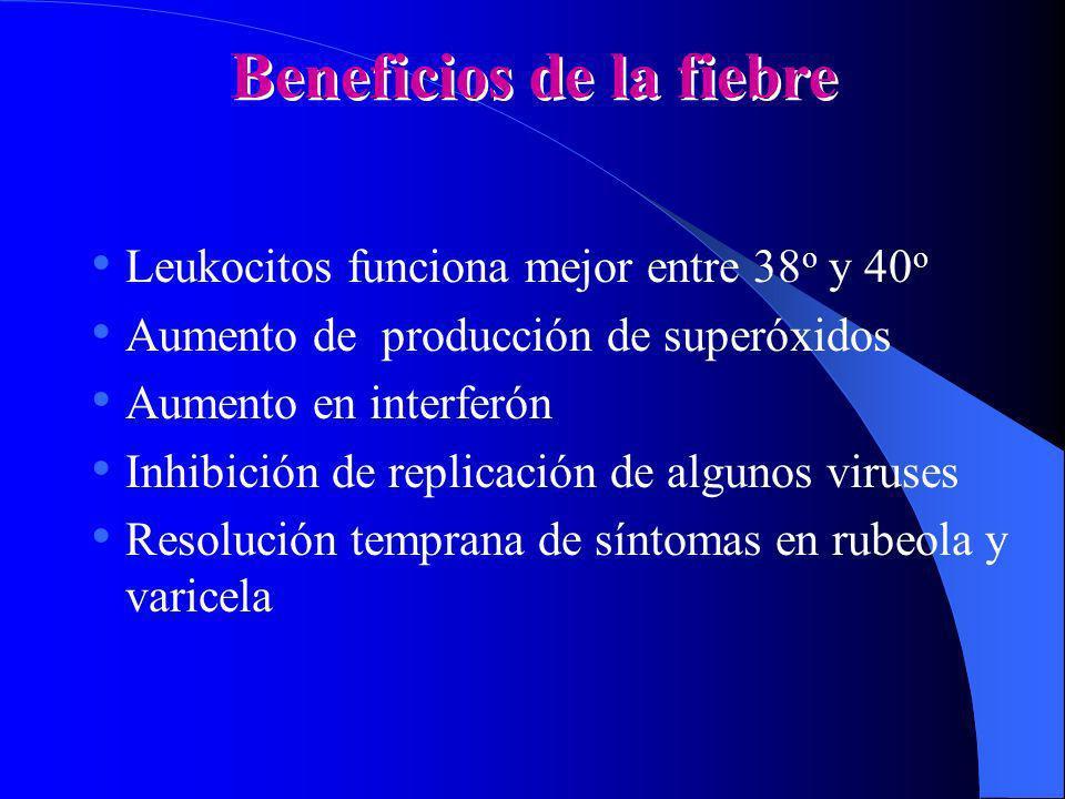 Beneficios de la fiebre Leukocitos funciona mejor entre 38 o y 40 o Aumento de producción de superóxidos Aumento en interferón Inhibición de replicaci