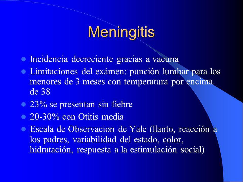 Meningitis Incidencia decreciente gracias a vacuna Limitaciones del exámen: punción lumbar para los menores de 3 meses con temperatura por encima de 3