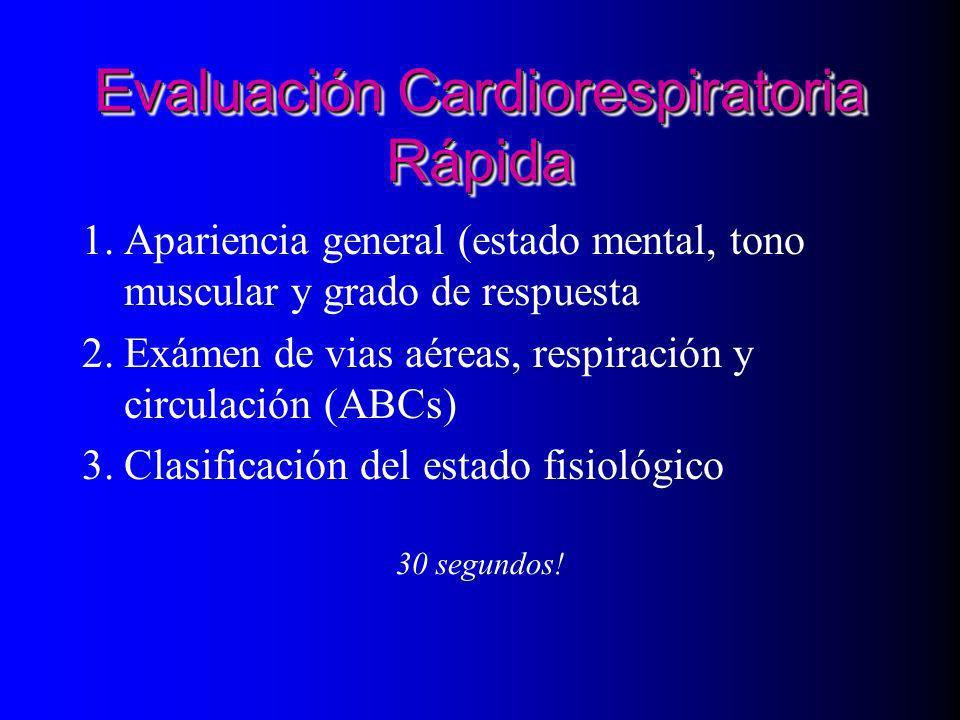 Evaluación Cardiorespiratoria Rápida 1.Apariencia general (estado mental, tono muscular y grado de respuesta 2.Exámen de vias aéreas, respiración y ci