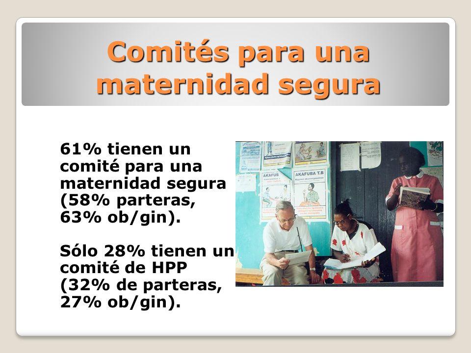 Comités para una maternidad segura 61% tienen un comité para una maternidad segura (58% parteras, 63% ob/gin). Sólo 28% tienen un comité de HPP (32% d