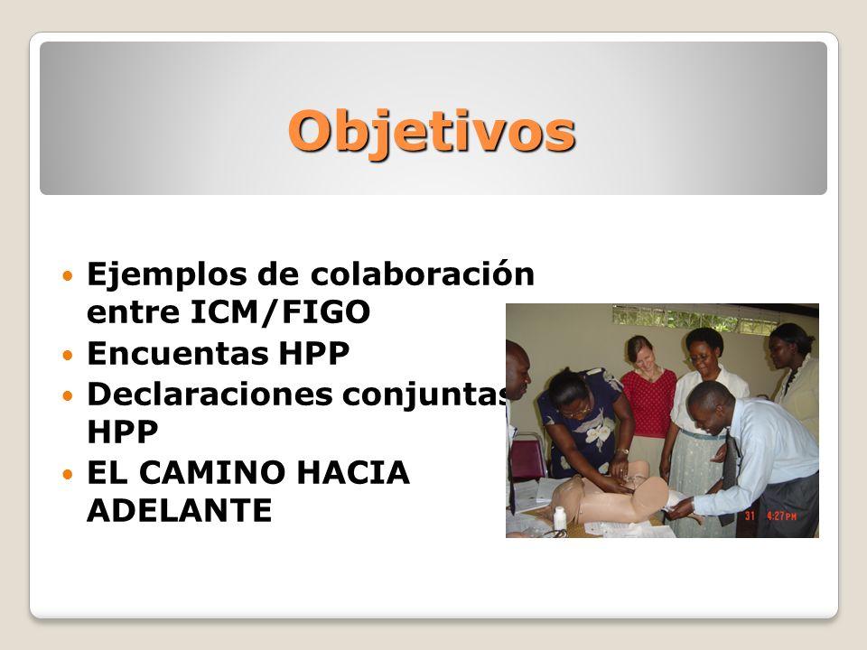 Objetivos Ejemplos de colaboración entre ICM/FIGO Encuentas HPP Declaraciones conjuntas HPP EL CAMINO HACIA ADELANTE