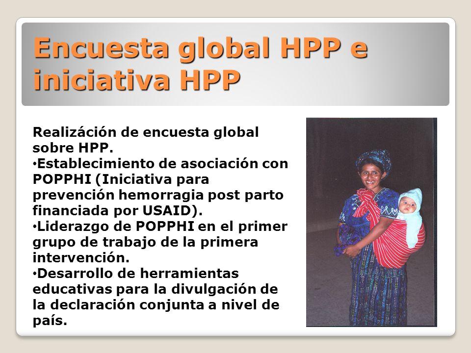 Encuesta global HPP e iniciativa HPP Realizáción de encuesta global sobre HPP. Establecimiento de asociación con POPPHI (Iniciativa para prevención he
