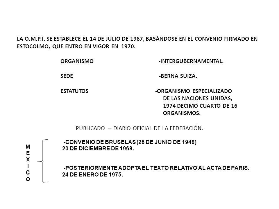 LA O.M.P.I. SE ESTABLECE EL 14 DE JULIO DE 1967, BASÁNDOSE EN EL CONVENIO FIRMADO EN ESTOCOLMO, QUE ENTRO EN VIGOR EN 1970. ORGANISMO -INTERGUBERNAMEN