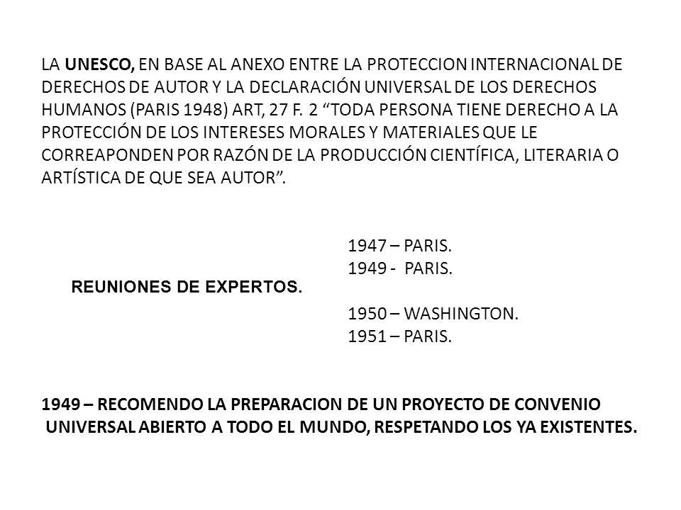 LA UNESCO, EN BASE AL ANEXO ENTRE LA PROTECCION INTERNACIONAL DE DERECHOS DE AUTOR Y LA DECLARACIÓN UNIVERSAL DE LOS DERECHOS HUMANOS (PARIS 1948) ART