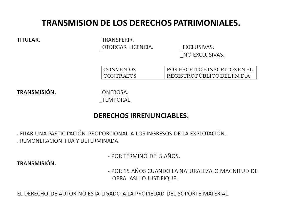TRANSMISION DE LOS DERECHOS PATRIMONIALES. TITULAR. –TRANSFERIR. _OTORGAR LICENCIA. _EXCLUSIVAS. _NO EXCLUSIVAS. TRANSMISIÓN. _ONEROSA. _TEMPORAL. DER